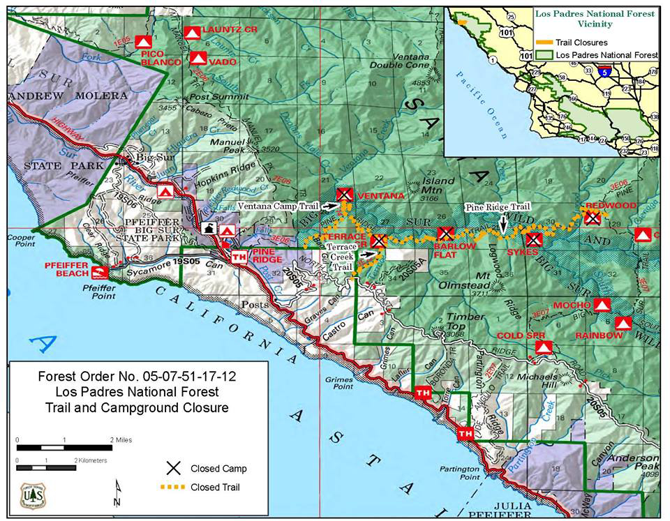 Big Sur Hiking Map Hiking Trails in Big Sur California : Ventana, Silver Peak Wilderness Big Sur Hiking Map