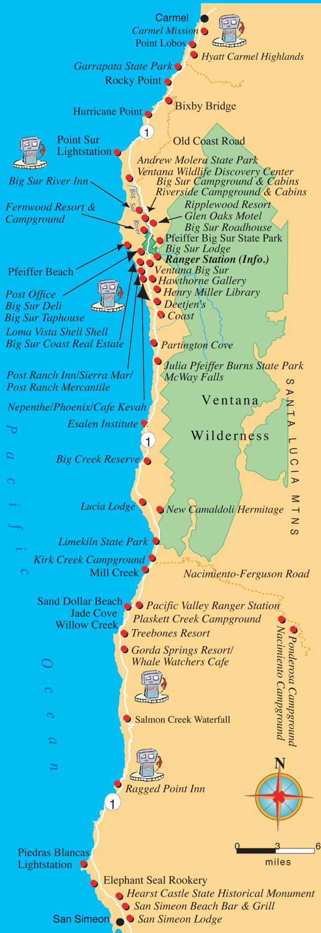 Map Of Big Sur Maps, Directions, and Transportation to Big Sur California